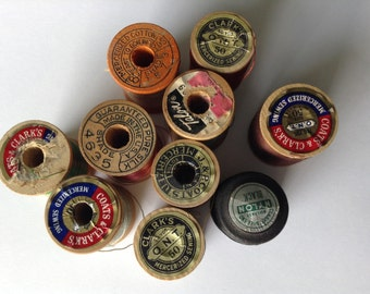 Set of 10 Wooden Spools of Thread Vintage