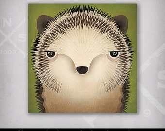 HEDGEHOG Chick Graphic Illustration Stretched Canvas Baby Nursery Wall Art signed