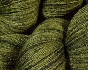 Hand Dyed Yarn - Lace Weight Silk / Merino Wool Yarn - Moss Tonal - Knitting Yarn, Lace Yarn, Lace Weight Yarn, Wool Silk Yarn, Olive Green