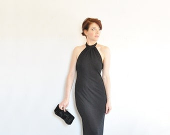 formal black tie evening gown . gathered halter neck maxi dress .extra small.small.xs .sale
