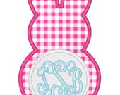 Easter Bunny Monogram Machine Embroidery Applique Design