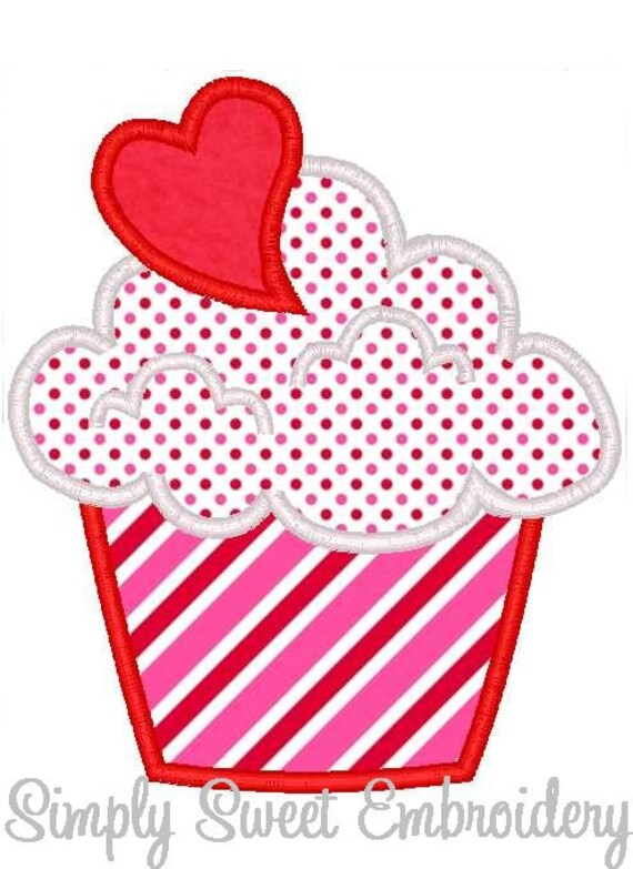 Heart Cupcake Machine Embroidery Applique Design