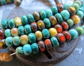 NEW ZAMA MIX .  Czech Picasso Tri Cut Beads . size 6/0  ( 50+ beads)