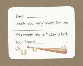 Baseball Bat & Balls Fill in the Blanks Thank You Cards - Baseball Birthday Party Thank Yous, Baseball Players Cards, Custom Boys Stationery
