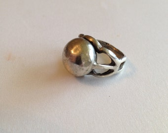 Silver Brutalist Ring Size 6 Industrial