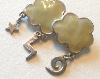 Enamel Clouds Brooch Star Lighting Bolt Swirl Dangle