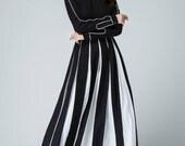 linen dress, maxi dress, womens dresses, prom dress, white and black dress, fall dress, bridesmaid dress, party dress, elegant dress  1459