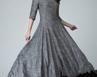 Slip extender, high low dress, linen dress, maxi dress, grey dress, bridesmaid dress, elbow length sleeves dress, made to measure   1451