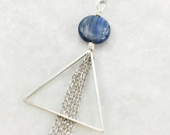 Kyanite Silver Triangle Necklace | Silver Plated Chain | N11622