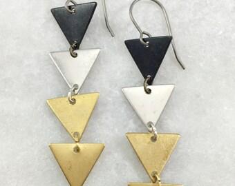 Mixed Metal Triangle Earrings | E21621