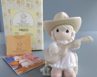 Vintage Precious Moments Hallelujah Hoedown Figurine 163864, Cowgirl with Guitar, 1996 Spring Event Limited Edition, Heart Symbol