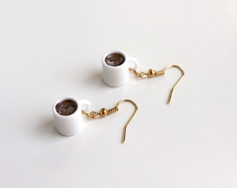 Miniature Fake Food Earrings - Mugs of Coffee