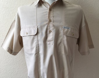 Vintage Men's 80's Members Only Shirt, Tan, Pull Over, Short Sleeve (XL)