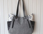 241 Tote bag in Cotton and Steel and Black Essex Linen
