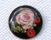 Copper Brooch Roses Poppy Flower Transfer Enamel Pin Vintage 60s Costume Jewelry