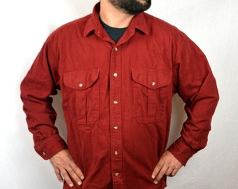 Great Vintage Filson Cotton Red Maroon Button Up Shirt - XL