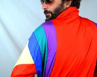 Vintage 80s 1980s Rainbow Jacket Windbreaker