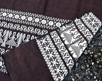 Vintage Woven Ethnic Guatemalan Brown Fabric