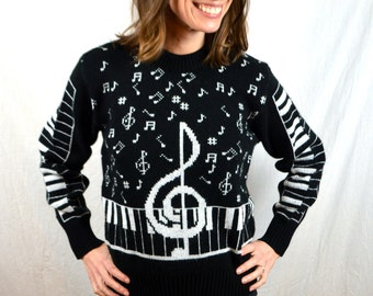 Vintage Ultimate 80s Knit Music Note Teacher Piano Sweater