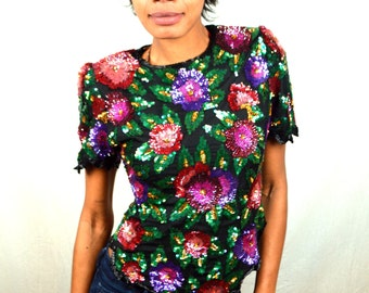Awesome 80s 90s Sequined Party Floral Disco Top - Lawrence Kazar