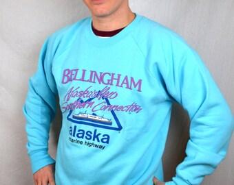 Vintage 1980s Bellingham Washington Alaska Connection Souvenir Puffy Sweatshirt