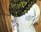 Chunky Bubble Stitch Crochet Cowl Scarf Shawl Hood Crochet Neck Warmer - HUNTER - Camouflage
