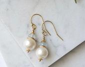 Pearl Blue Topaz Earrings / Gold Pearl Drop Earrings / Blue Gemstone Pearl Earrings / Something Blue Jewelry / Blue Wedding Jewelry