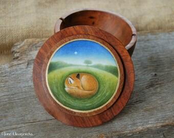 Fox - Handpainted Wooden Box - Original Art