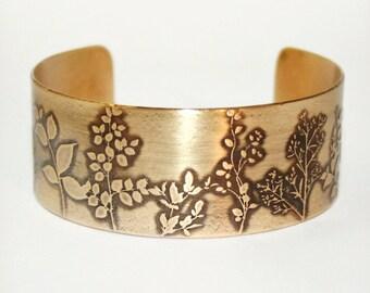 Etched Wildflowers Cuff - Solid 18 gauge Brass Cuff Bracelet - Handmade