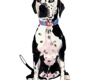 Dog Portrait, Pointer Portrait, Dalmatian Portrait, Black & White Dog Portrait, Watercolor Custom Pet Portrait *CONVO FOR AVAILABILITY*