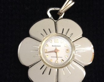 Vintage Saxony 1960 PENDANT Watch.  Working Flower Power from 1960.  Vintage Shock Resistant, Wind up. Gold toned.