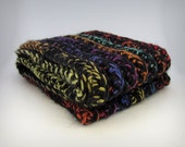 Chunky Infinity scarf, black rainbow merino wool knit scarf