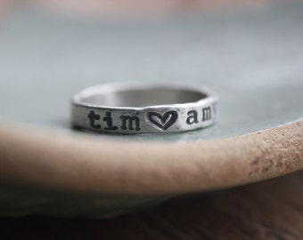 name ring, personalized fine silver ring, couples ring, stackies, gifts for couples, custom ring with heart,  promise ring, rustic organic