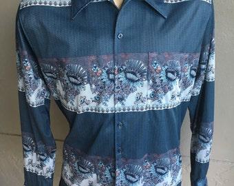 1970s disco geometrical long sleeve vintage shirt size extra large