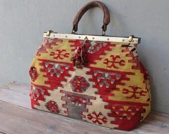 Kilim Bag Weekender, Leather Doctor Bag, Travel Bag, Carryall made with Vintage Kilim and Leather, Boho Tapestry Bag