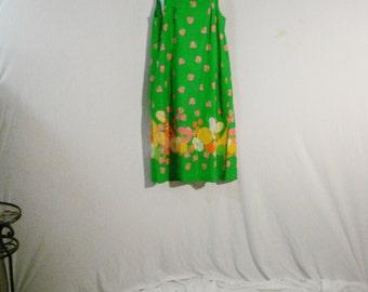 Green Cotton Beco Originals Smock Dress Strawberry Theme Sweet Chic M