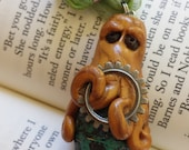 Cheeky Octopus Pendant Necklace with Gear, Onyx Eyes, Hugging a Gorgeous Paper-Wrapped Bead - Hand Sculpted OOAK