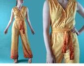 1960s Womens Jumpsuit / Palazzo Pants Vintage Retro Jumpsuit / Hostess Jumpsuit / Sleeveless High Waist 60s Mod One Piece Jumpsuit S / M