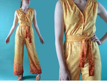 1960s Womens Jumpsuit / Palazzo Pants Vintage Retro Jumpsuit / Hostess Jumpsuit / Sleeveless High Waist 60s Mod One Piece Jumpsuit S / M