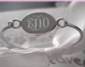 Engravable Sterling Silver Oval Child Baby Bangle, Personalized Baby Bracelet, Child Name Bracelet, Monogrammed Baby Bracelets, Baptism