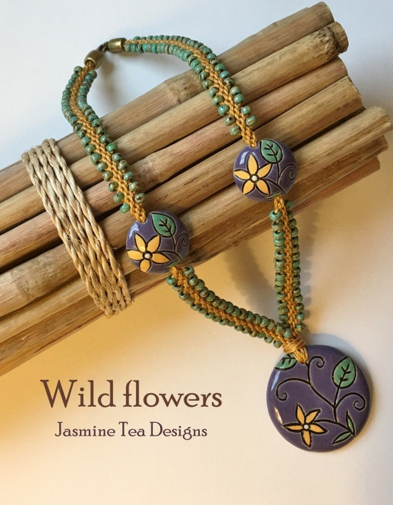 Beaded Kumihimo Wildflowers Necklace featuring Golem Studio Designs Artisan Beads