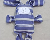 Wrap Scrap Bunny - Emmeline Textiles Eleanor Pearl Wrap Scrap Bunny Pillow Plush - Hand Drawn Face
