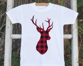 Kids Christmas Shirt - Kid Holiday Shirt or Onepiece - Deer Shirt - Plaid Deer Tshirt - Christmas Pajamas - Family Shirts - Family Photos
