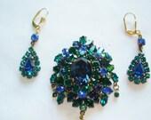 Signed Austria Blue Green Rhinestone Earrings  Brooch