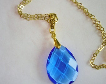 Blue  Crystal Pendant Gold Tone