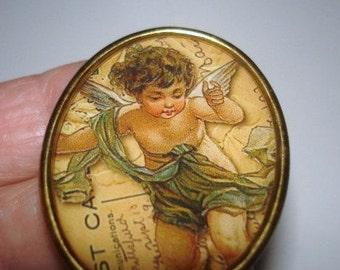 Victorian Cherub Angel Child Vintage Jewelry Brooch KL Design
