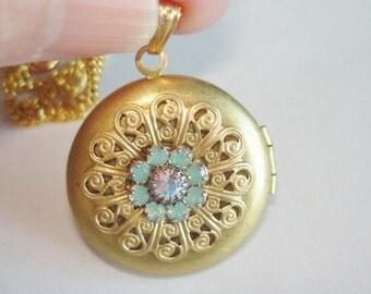 Turquoise  Rhinestone Flower Locket Pendant Gold Tone