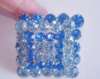 Signed Made in Austria  Vintage Jewelry Blue Rhinestone  Brooch