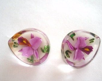 Orchid  Flower Jewelry  Lavender Clear Lucite Clip  Earrings