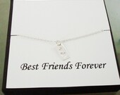 Cut Out Double Heart Tag Sterling Silver Necklace ~~Personalized Jewelry Gift Card for Best Friend, Friend, Sister
